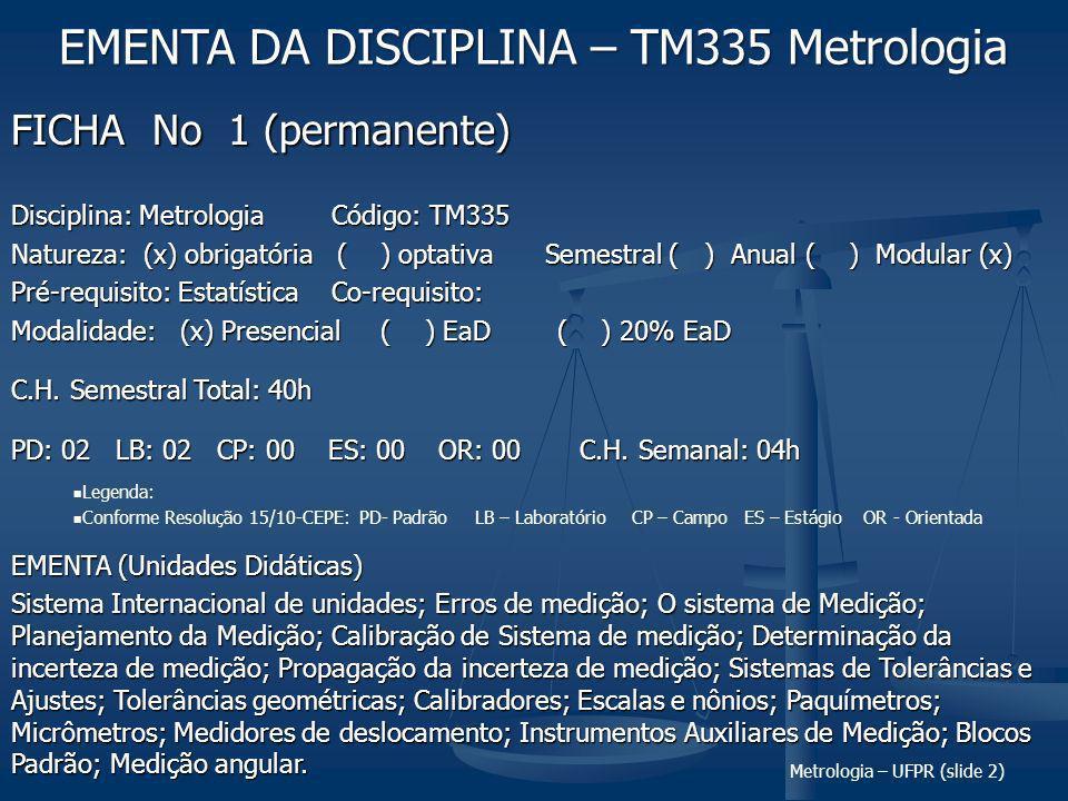 Metrologia – UFPR (slide 2) FICHA No 1 (permanente) Disciplina: Metrologia Código: TM335 Natureza: (x) obrigatória ( ) optativaSemestral ( ) Anual ( ) Modular (x) Pré-requisito: EstatísticaCo-requisito: Modalidade: (x) Presencial ( ) EaD ( ) 20% EaD C.H.