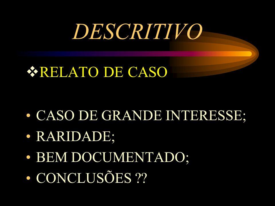 DESCRITIVO RELATO DE CASO CASO DE GRANDE INTERESSE; RARIDADE; BEM DOCUMENTADO; CONCLUSÕES ??