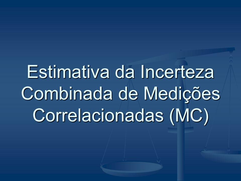 Caso Geral = coeficiente de sensibilidade Pode ser calculado analitica ou numericamente Estimativa da Incerteza Combinada de Medições Correlacionadas (MC)