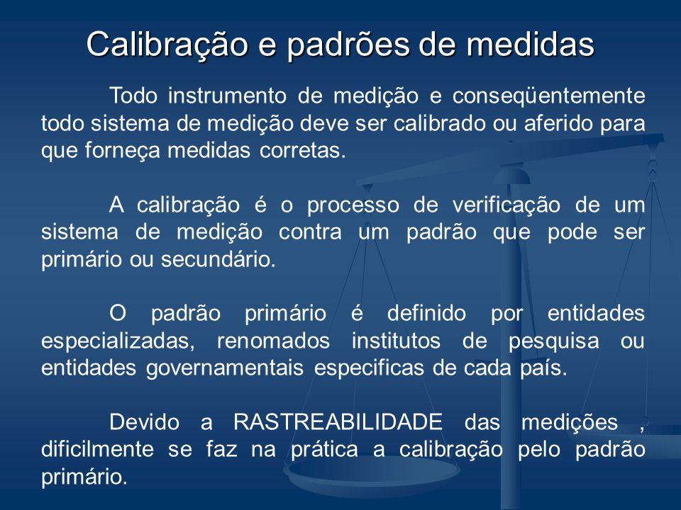 Calibração e padrões de medidas Todo instrumento de medição e conseqüentemente todo sistema de medição deve ser calibrado ou aferido para que forneça