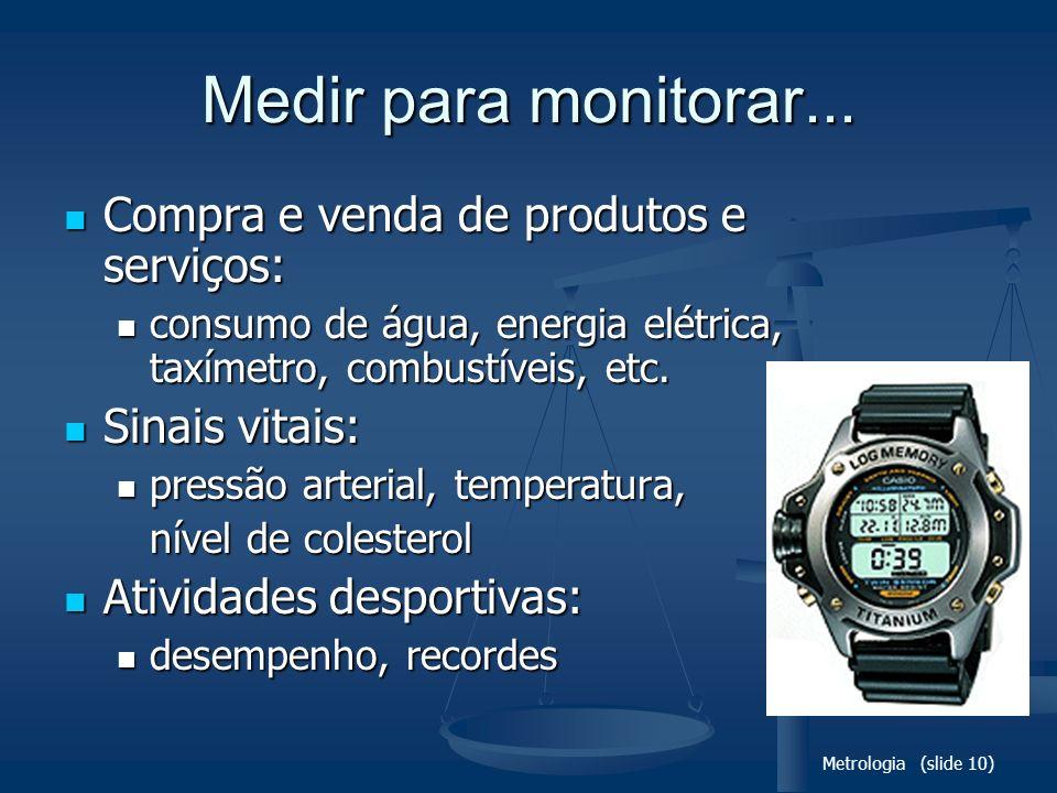 Metrologia (slide 10) Medir para monitorar... Compra e venda de produtos e serviços: Compra e venda de produtos e serviços: consumo de água, energia e