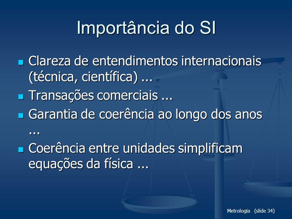 Metrologia (slide 34) Importância do SI Clareza de entendimentos internacionais (técnica, científica)... Clareza de entendimentos internacionais (técn
