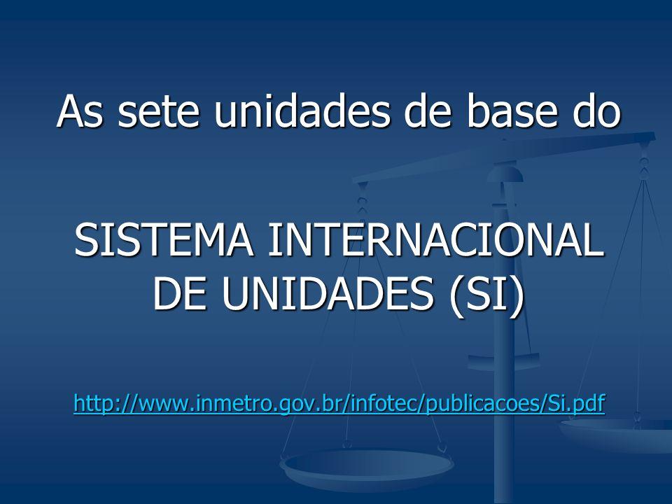As sete unidades de base do SISTEMA INTERNACIONAL DE UNIDADES (SI) http://www.inmetro.gov.br/infotec/publicacoes/Si.pdf