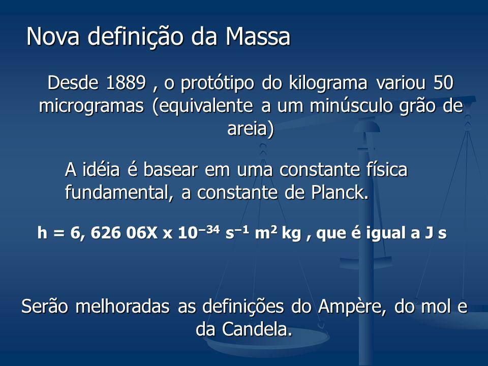 Nova definição da Massa Desde 1889, o protótipo do kilograma variou 50 microgramas (equivalente a um minúsculo grão de areia) A idéia é basear em uma