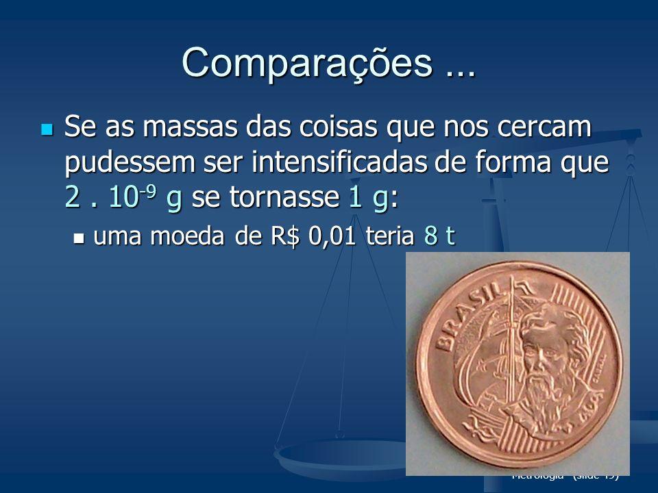 Metrologia (slide 49) Comparações... Se as massas das coisas que nos cercam pudessem ser intensificadas de forma que 2. 10 -9 g se tornasse 1 g: Se as