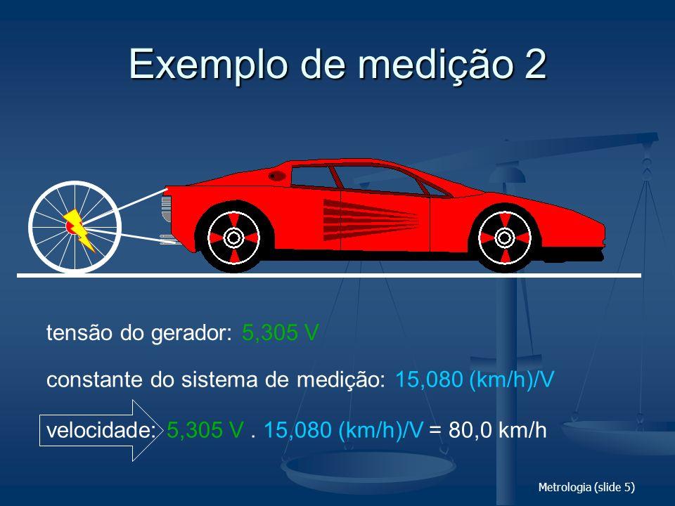 Metrologia (slide 5) Exemplo de medição 2 tensão do gerador: 5,305 V constante do sistema de medição: 15,080 (km/h)/V velocidade: 5,305 V. 15,080 (km/