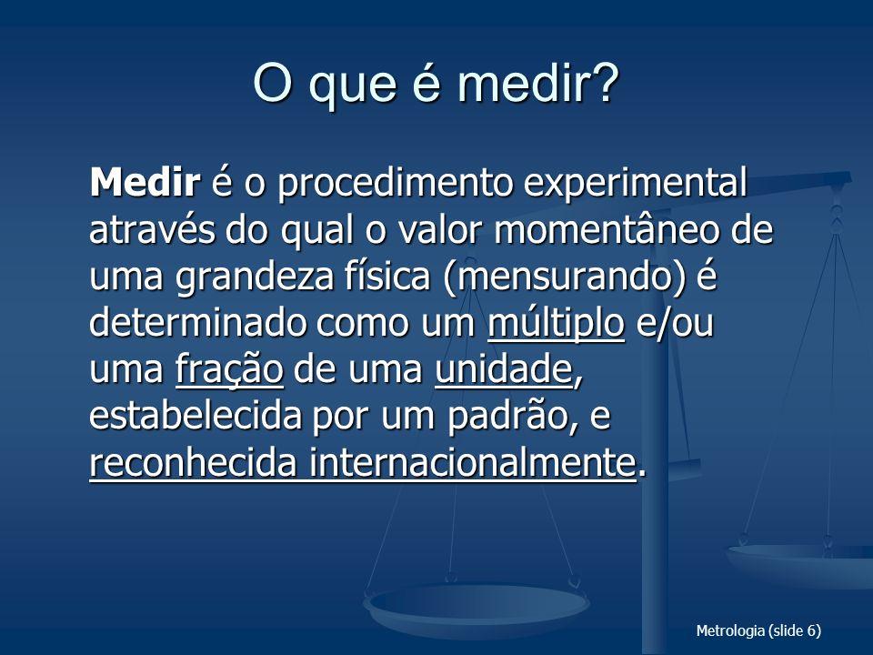 Metrologia (slide 6) O que é medir? Medir é o procedimento experimental através do qual o valor momentâneo de uma grandeza física (mensurando) é deter