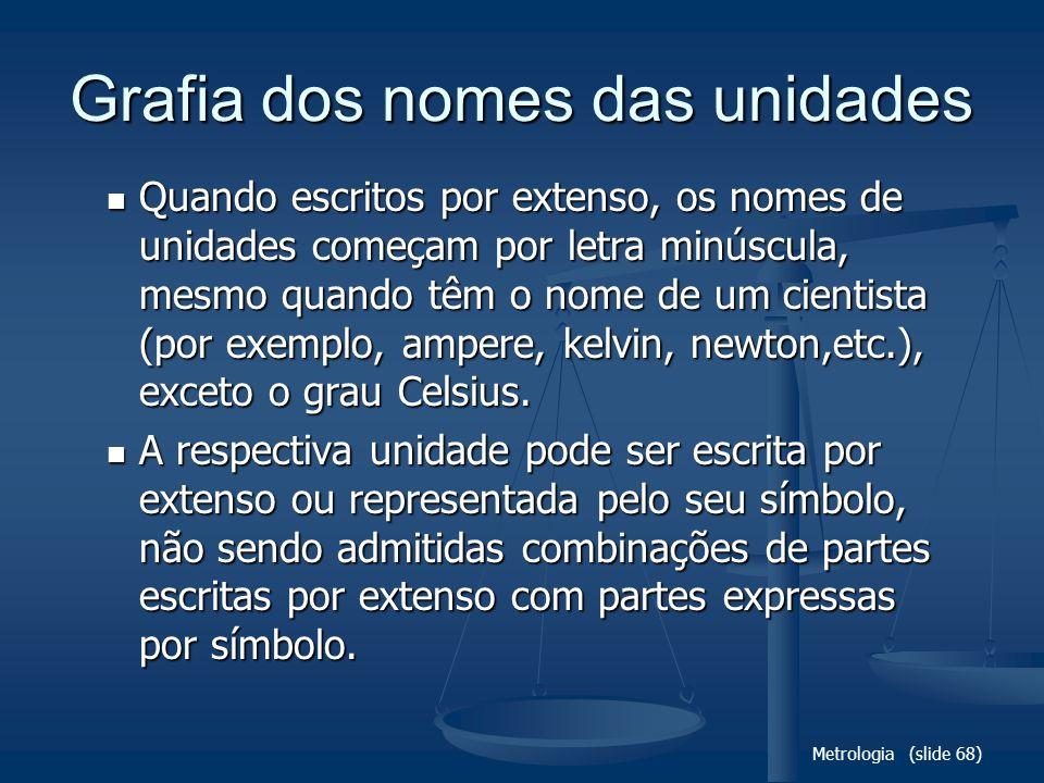 Metrologia (slide 68) Grafia dos nomes das unidades Quando escritos por extenso, os nomes de unidades começam por letra minúscula, mesmo quando têm o
