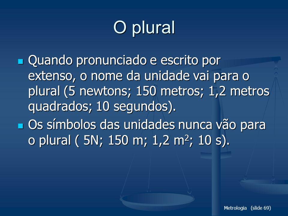 Metrologia (slide 69) O plural Quando pronunciado e escrito por extenso, o nome da unidade vai para o plural (5 newtons; 150 metros; 1,2 metros quadra