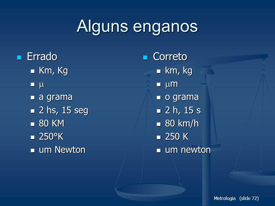 Metrologia (slide 72) Alguns enganos Errado Errado Km, Kg Km, Kg a grama a grama 2 hs, 15 seg 2 hs, 15 seg 80 KM 80 KM 250°K 250°K um Newton um Newton