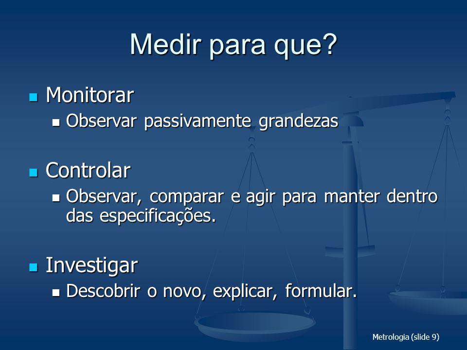 Metrologia (slide 9) Medir para que? Monitorar Monitorar Observar passivamente grandezas Observar passivamente grandezas Controlar Controlar Observar,