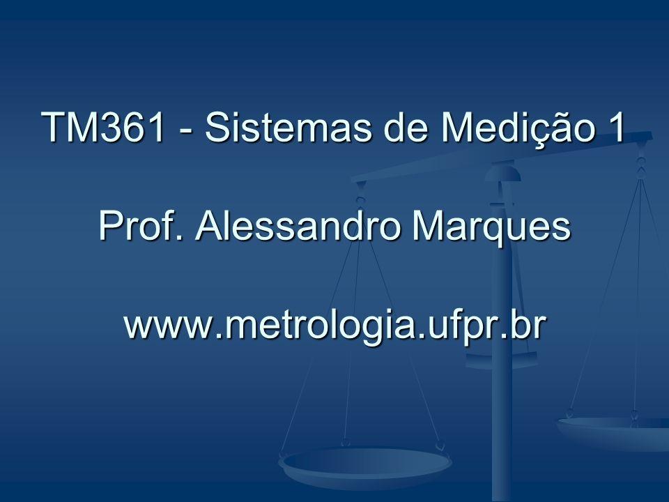 TM361 - Sistemas de Medição 1 Prof. Alessandro Marques www.metrologia.ufpr.br