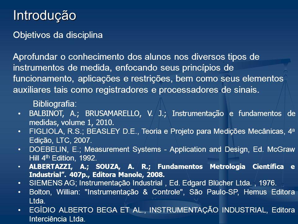 Introdução Objetivos da disciplina Aprofundar o conhecimento dos alunos nos diversos tipos de instrumentos de medida, enfocando seus princípios de fun
