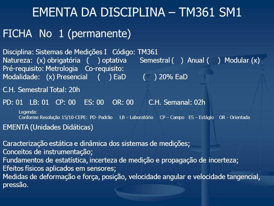 FICHA No 1 (permanente) Disciplina: Sistemas de Medições I Código: TM361 Natureza: (x) obrigatória ( ) optativaSemestral ( ) Anual ( ) Modular (x) Pré