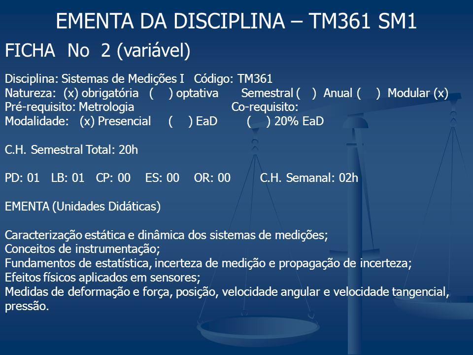 FICHA No 2 (variável) EMENTA DA DISCIPLINA – TM361 SM1 Disciplina: Sistemas de Medições ICódigo: TM361 Natureza: (x) obrigatória ( ) optativaSemestral