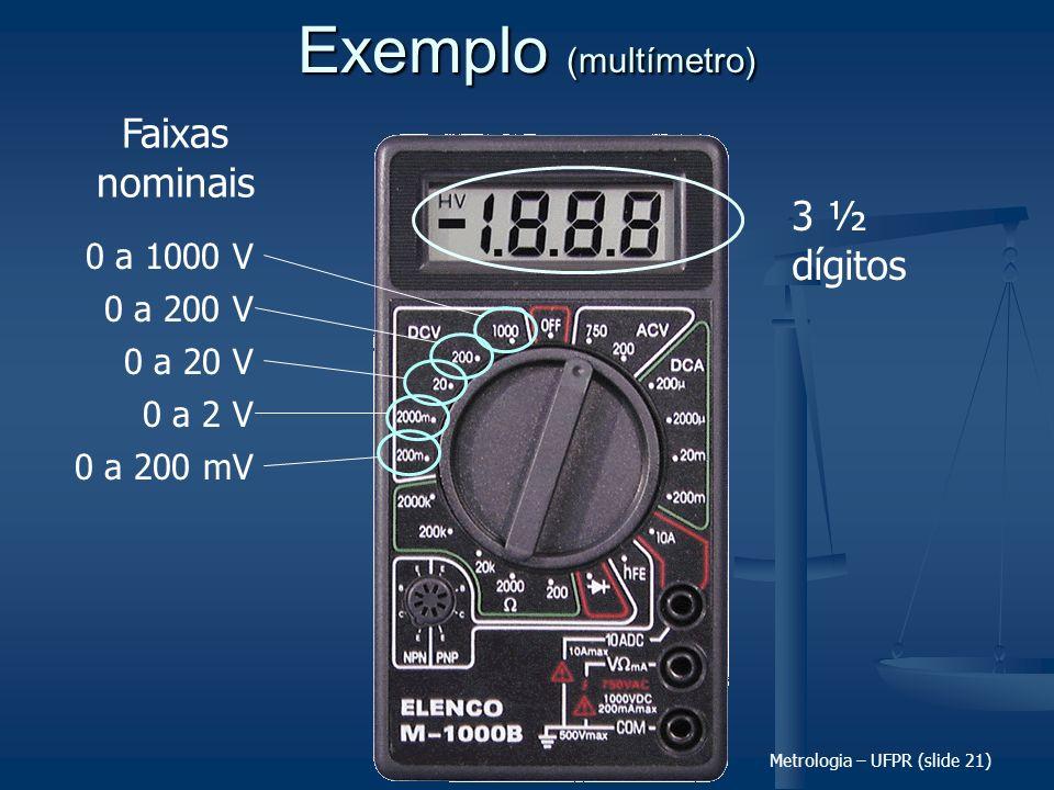 Metrologia – UFPR (slide 21) Exemplo (multímetro) 3 ½ dígitos 0 a 1000 V 0 a 200 V 0 a 20 V 0 a 2 V 0 a 200 mV Faixas nominais