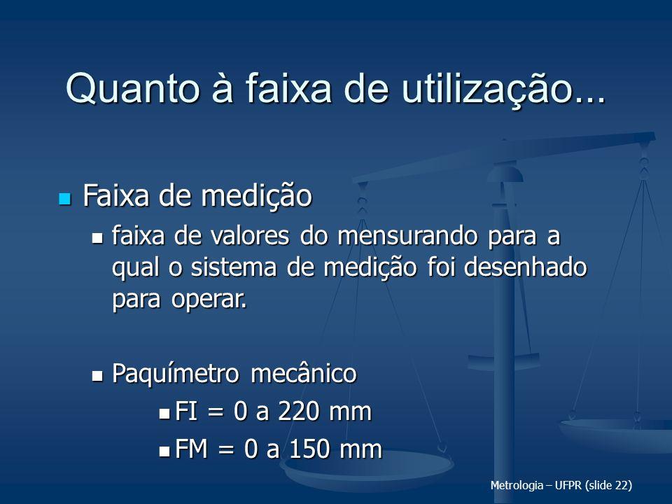 Metrologia – UFPR (slide 22) Quanto à faixa de utilização... Faixa de medição Faixa de medição faixa de valores do mensurando para a qual o sistema de
