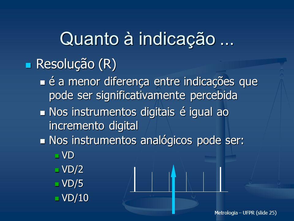 Metrologia – UFPR (slide 25) Quanto à indicação... Resolução (R) Resolução (R) é a menor diferença entre indicações que pode ser significativamente pe