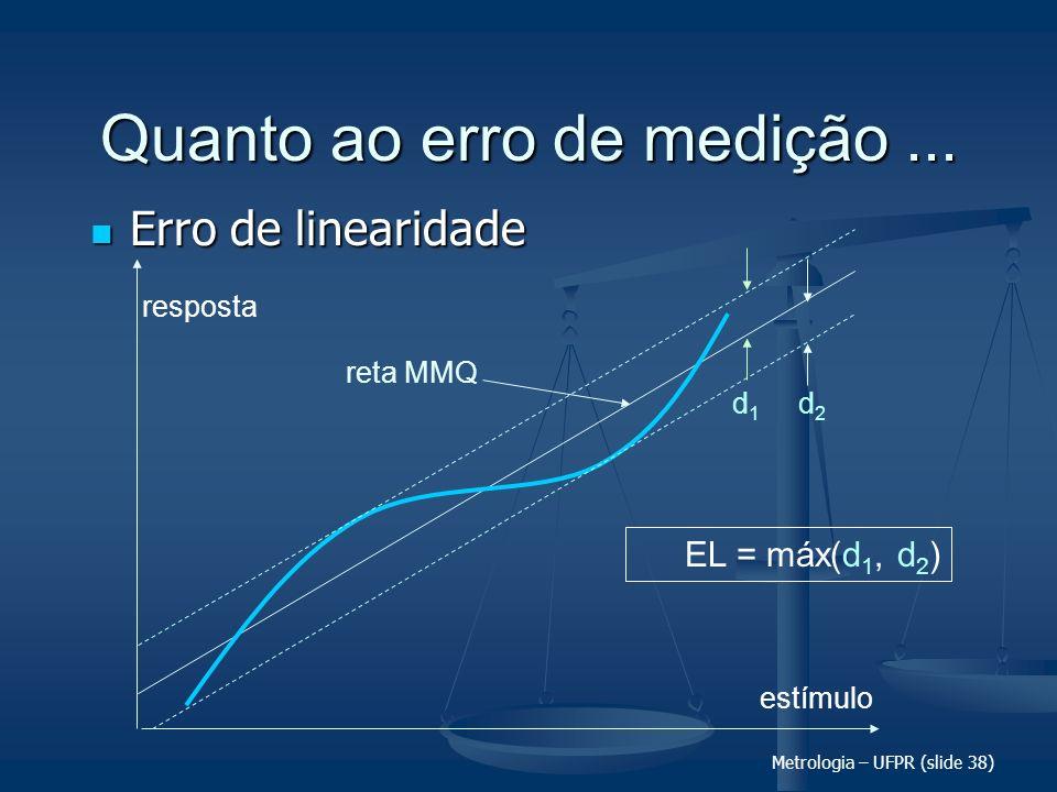 Metrologia – UFPR (slide 38) Quanto ao erro de medição... Erro de linearidade Erro de linearidade estímulo resposta d2d2 d1d1 reta MMQ EL = máx(d 1, d