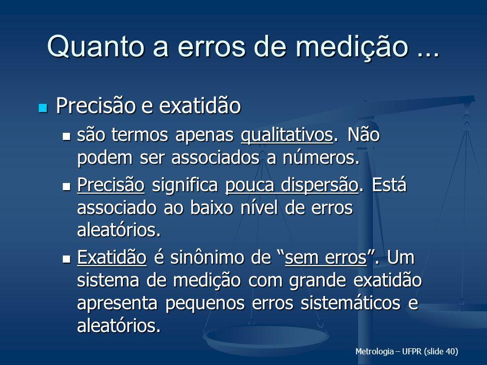 Metrologia – UFPR (slide 40) Quanto a erros de medição... Precisão e exatidão Precisão e exatidão são termos apenas qualitativos. Não podem ser associ