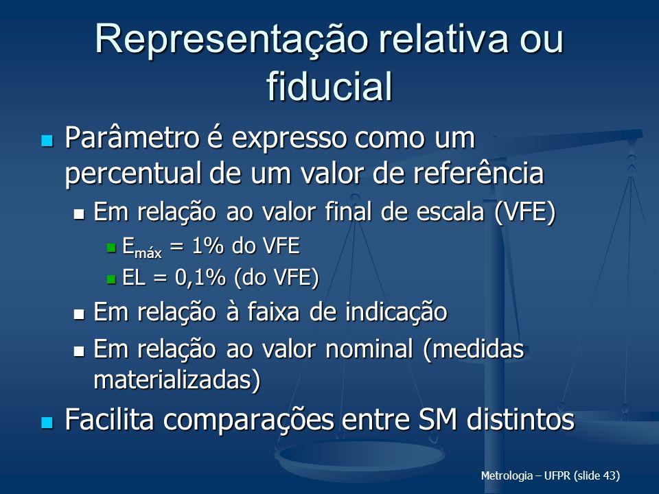 Metrologia – UFPR (slide 43) Representação relativa ou fiducial Parâmetro é expresso como um percentual de um valor de referência Parâmetro é expresso