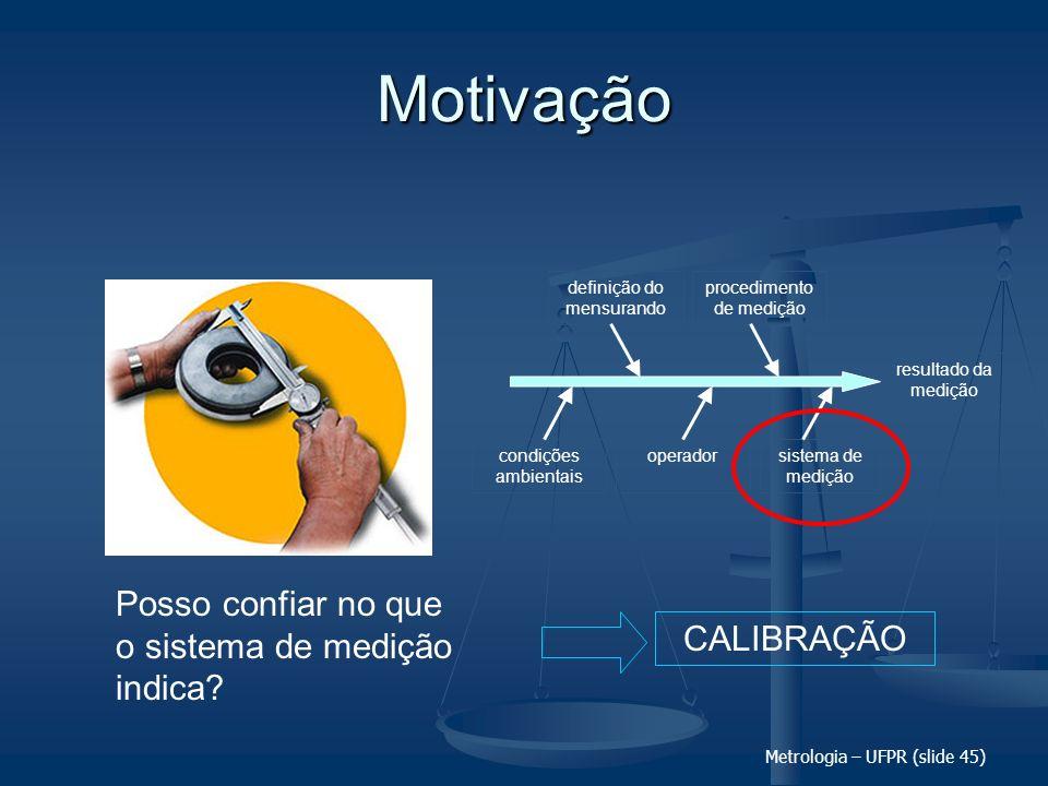 Metrologia – UFPR (slide 45) Motivação Posso confiar no que o sistema de medição indica? resultado da medição definição do mensurando procedimento de