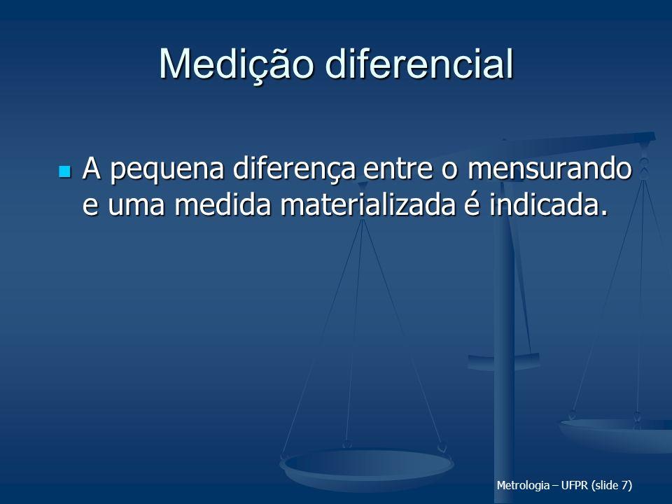 Metrologia – UFPR (slide 7) Medição diferencial A pequena diferença entre o mensurando e uma medida materializada é indicada. A pequena diferença entr