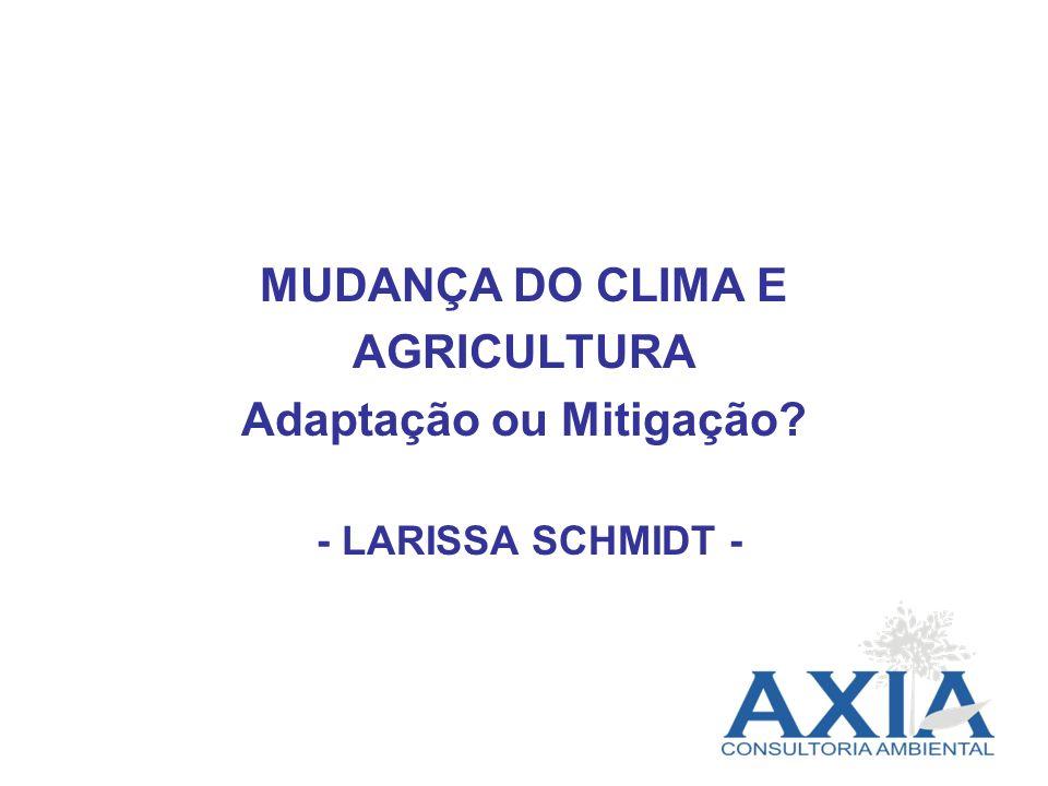 MUDANÇA DO CLIMA E AGRICULTURA Adaptação ou Mitigação? - LARISSA SCHMIDT -