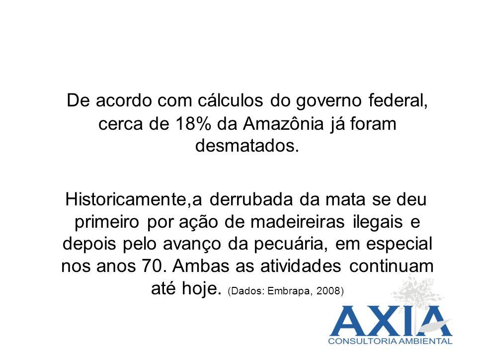 De acordo com cálculos do governo federal, cerca de 18% da Amazônia já foram desmatados. Historicamente,a derrubada da mata se deu primeiro por ação d