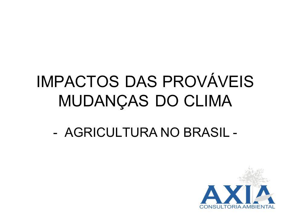 IMPACTOS DAS PROVÁVEIS MUDANÇAS DO CLIMA - AGRICULTURA NO BRASIL -