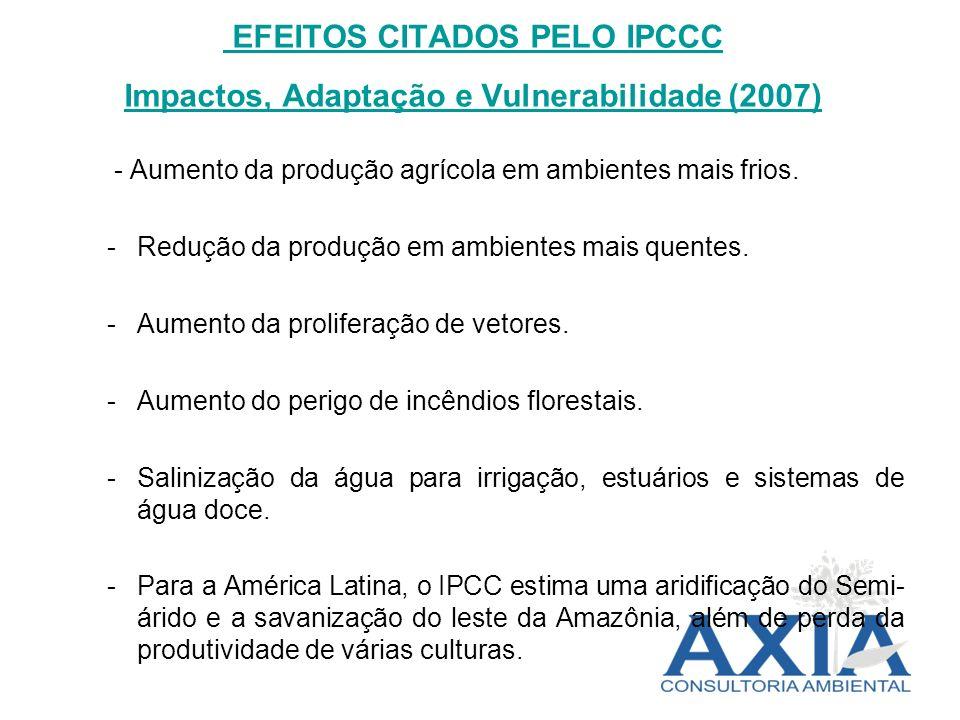 EFEITOS CITADOS PELO IPCCC Impactos, Adaptação e Vulnerabilidade (2007) - Aumento da produção agrícola em ambientes mais frios. -Redução da produção e