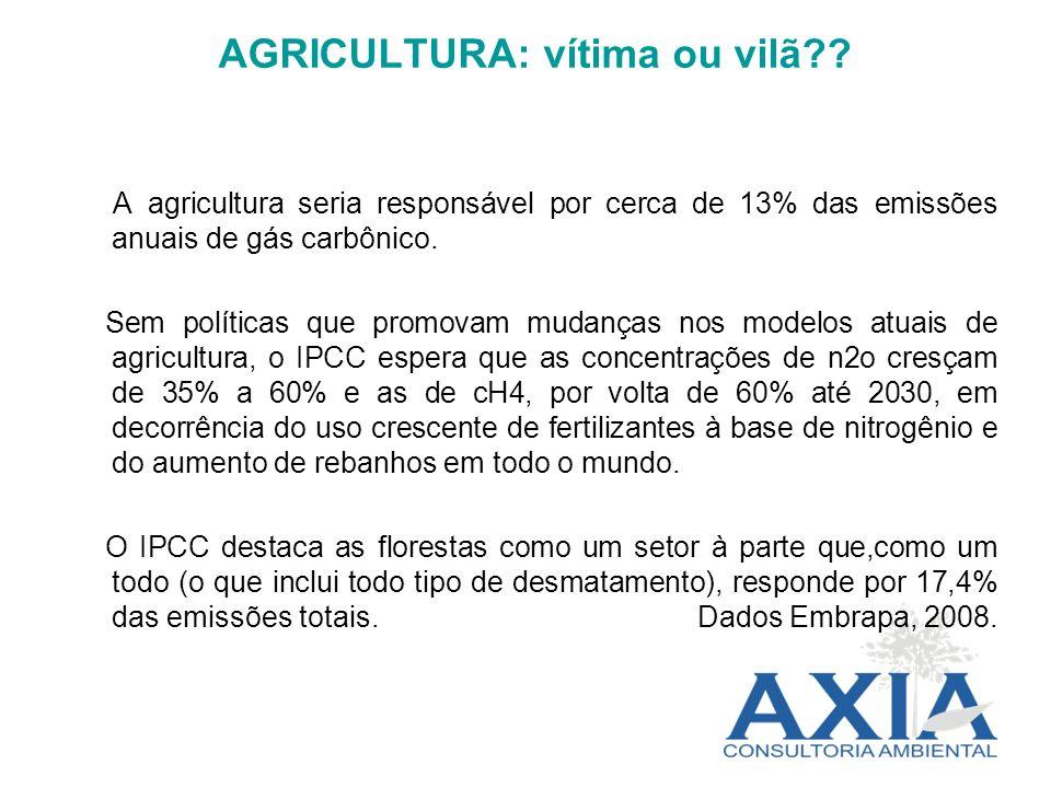 AGRICULTURA: vítima ou vilã?? A agricultura seria responsável por cerca de 13% das emissões anuais de gás carbônico. Sem políticas que promovam mudanç