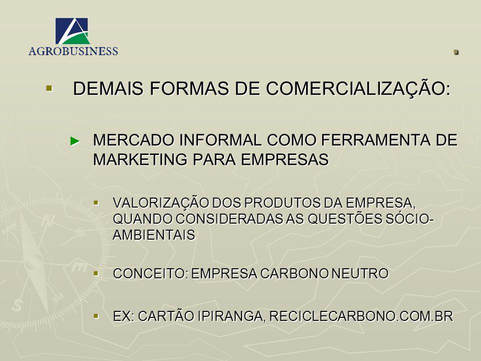 . DEMAIS FORMAS DE COMERCIALIZAÇÃO: DEMAIS FORMAS DE COMERCIALIZAÇÃO: MERCADO INFORMAL COMO FERRAMENTA DE MARKETING PARA EMPRESAS MERCADO INFORMAL COM