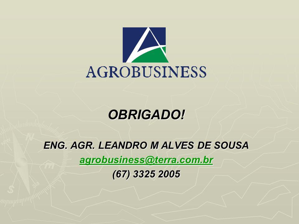 OBRIGADO! ENG. AGR. LEANDRO M ALVES DE SOUSA agrobusiness@terra.com.br (67) 3325 2005