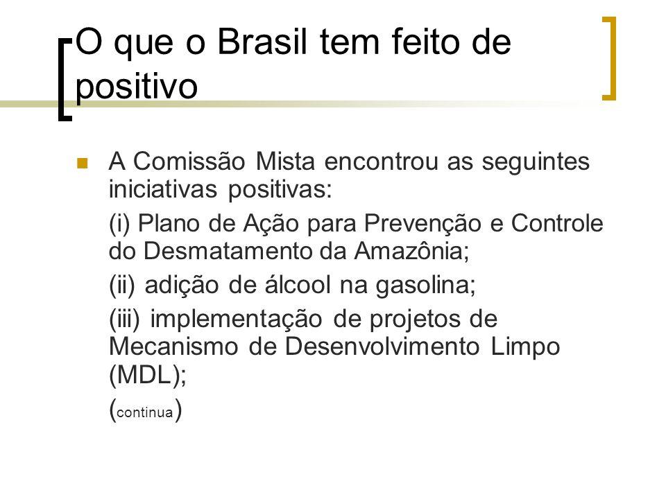 O que o Brasil tem feito de positivo A Comissão Mista encontrou as seguintes iniciativas positivas: (i) Plano de Ação para Prevenção e Controle do Des