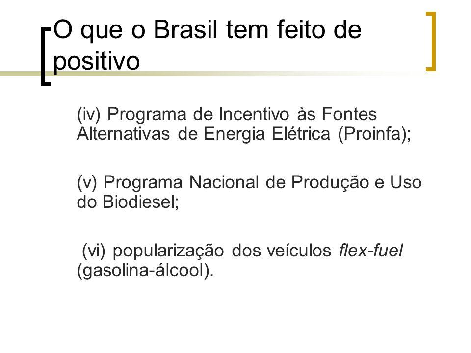 O que o Brasil tem feito de positivo (iv) Programa de Incentivo às Fontes Alternativas de Energia Elétrica (Proinfa); (v) Programa Nacional de Produçã