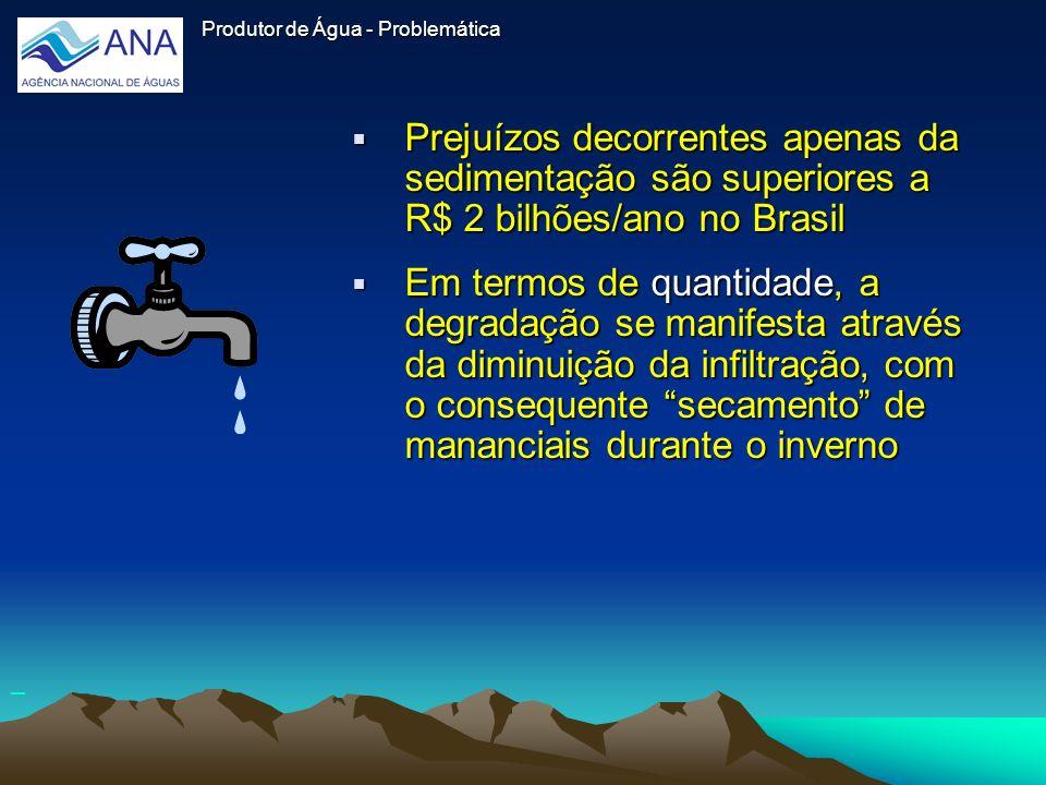 Prejuízos decorrentes apenas da sedimentação são superiores a R$ 2 bilhões/ano no Brasil Prejuízos decorrentes apenas da sedimentação são superiores a