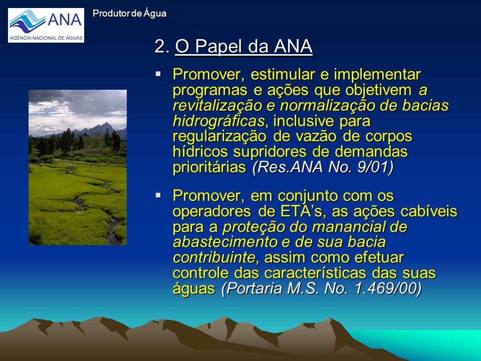 Produtor de Água 2. O Papel da ANA Promover, estimular e implementar programas e ações que objetivem a revitalização e normalização de bacias hidrográ