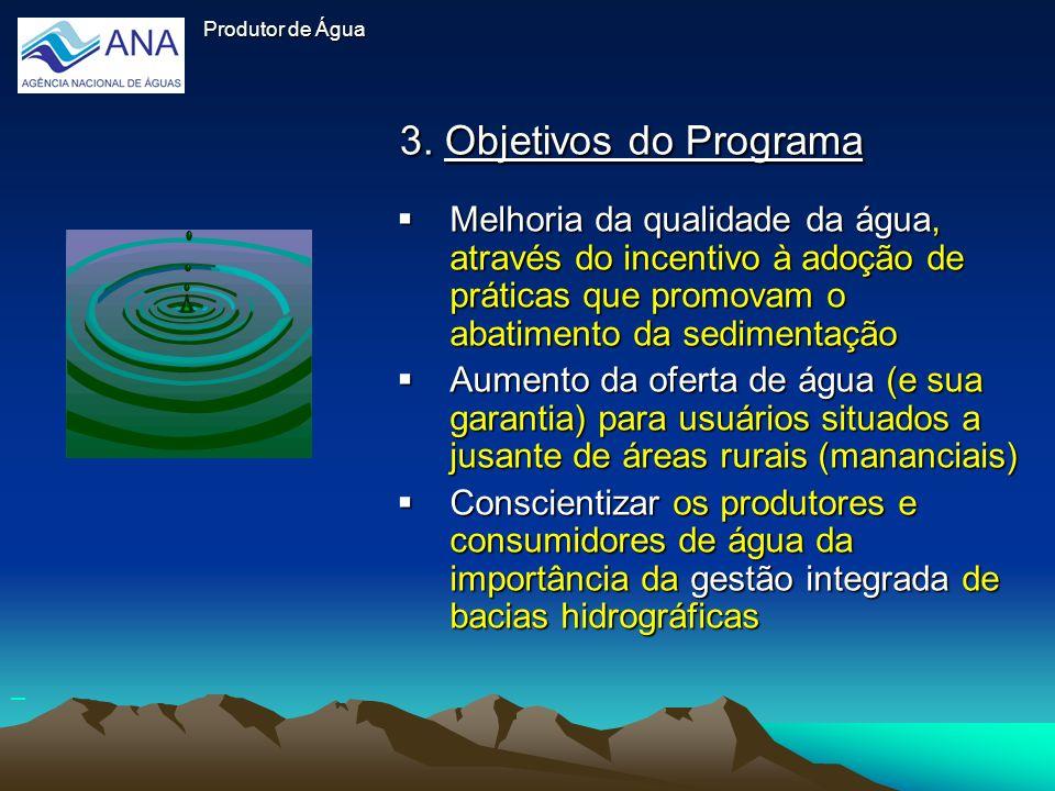 3. Objetivos do Programa Melhoria da qualidade da água, através do incentivo à adoção de práticas que promovam o abatimento da sedimentação Melhoria d