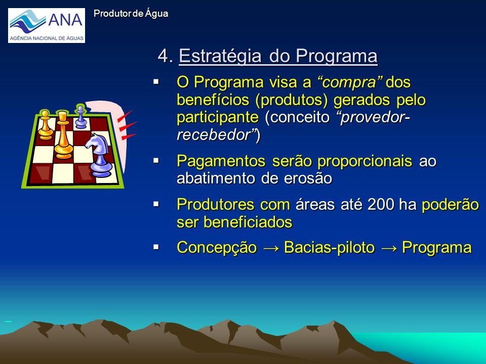 4. Estratégia do Programa O Programa visa a compra dos benefícios (produtos) gerados pelo participante (conceito provedor- recebedor) O Programa visa