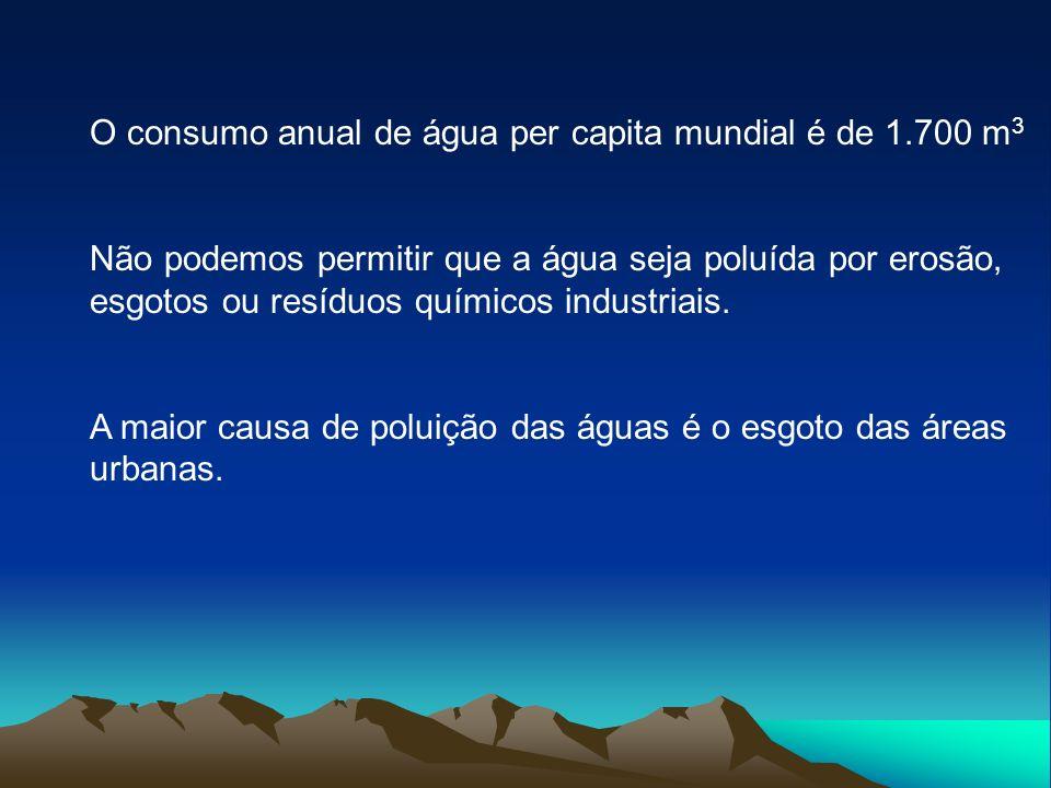 O consumo anual de água per capita mundial é de 1.700 m 3 Não podemos permitir que a água seja poluída por erosão, esgotos ou resíduos químicos indust