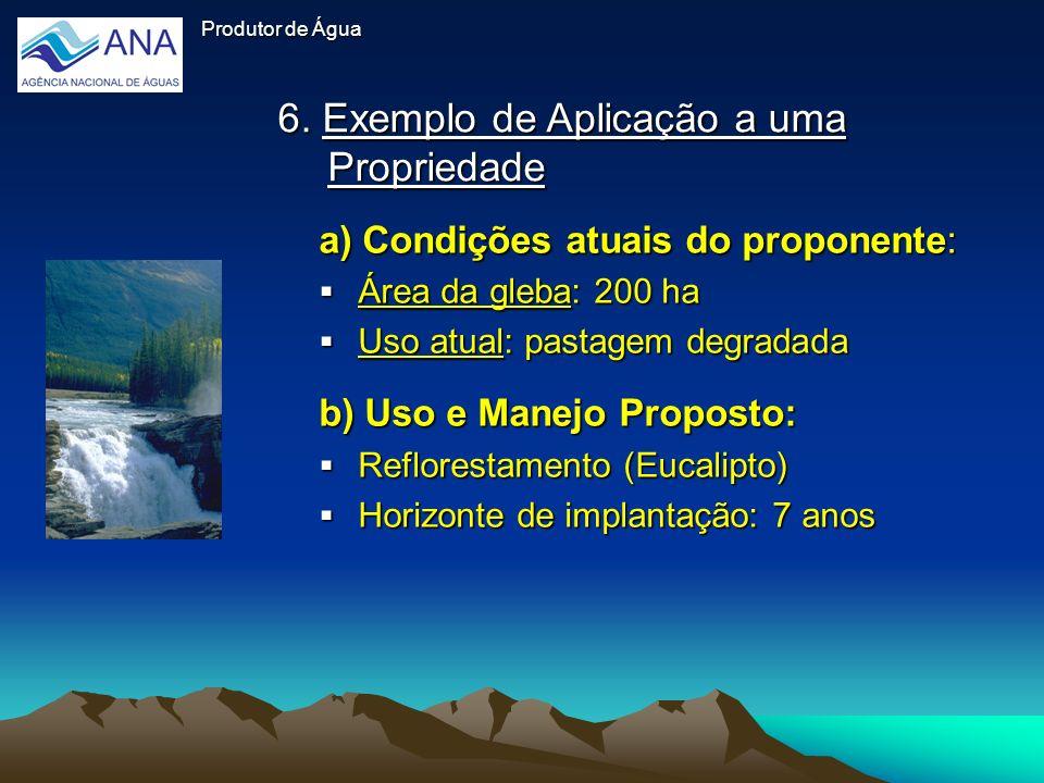 6. Exemplo de Aplicação a uma Propriedade Produtor de Água a) Condições atuais do proponente: Área da gleba: 200 ha Área da gleba: 200 ha Uso atual: p
