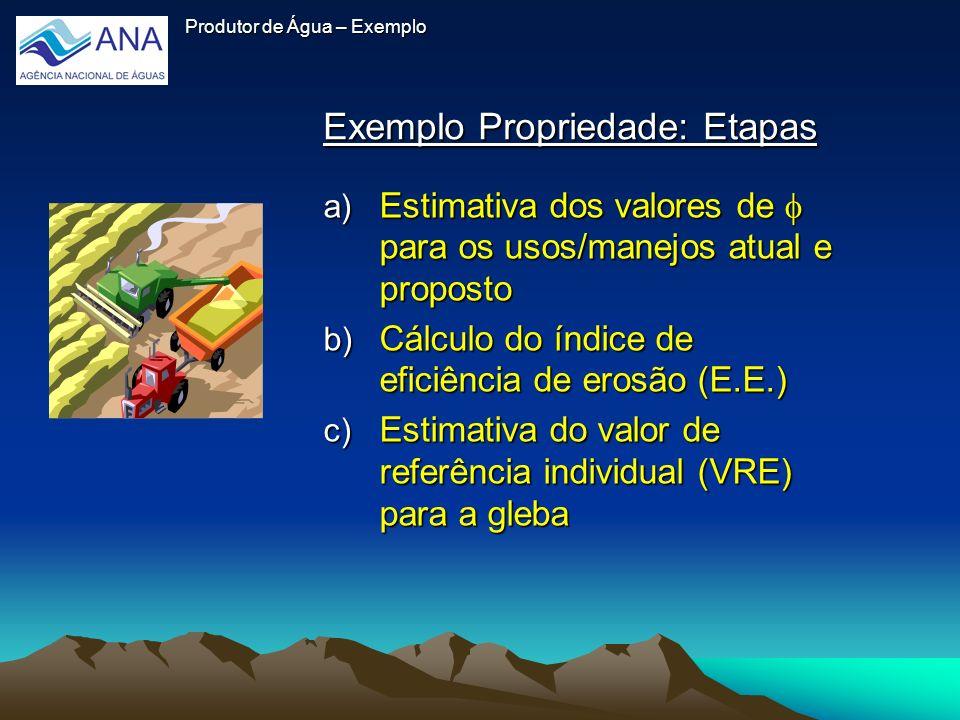 Exemplo Propriedade: Etapas Exemplo Propriedade: Etapas Produtor de Água – Exemplo a) Estimativa dos valores de para os usos/manejos atual e proposto