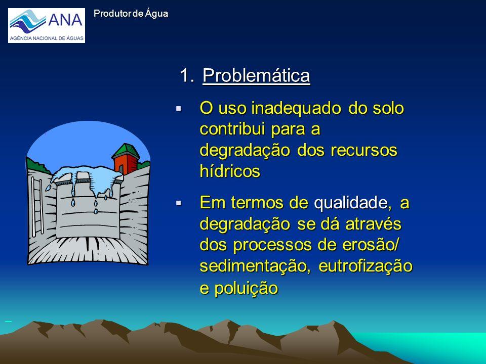 1.Problemática O uso inadequado do solo contribui para a degradação dos recursos hídricos O uso inadequado do solo contribui para a degradação dos rec