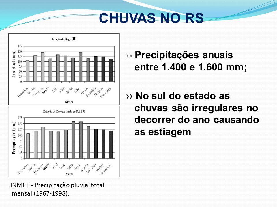 CHUVAS NO RS Precipitações anuais entre 1.400 e 1.600 mm; No sul do estado as chuvas são irregulares no decorrer do ano causando as estiagem INMET - P
