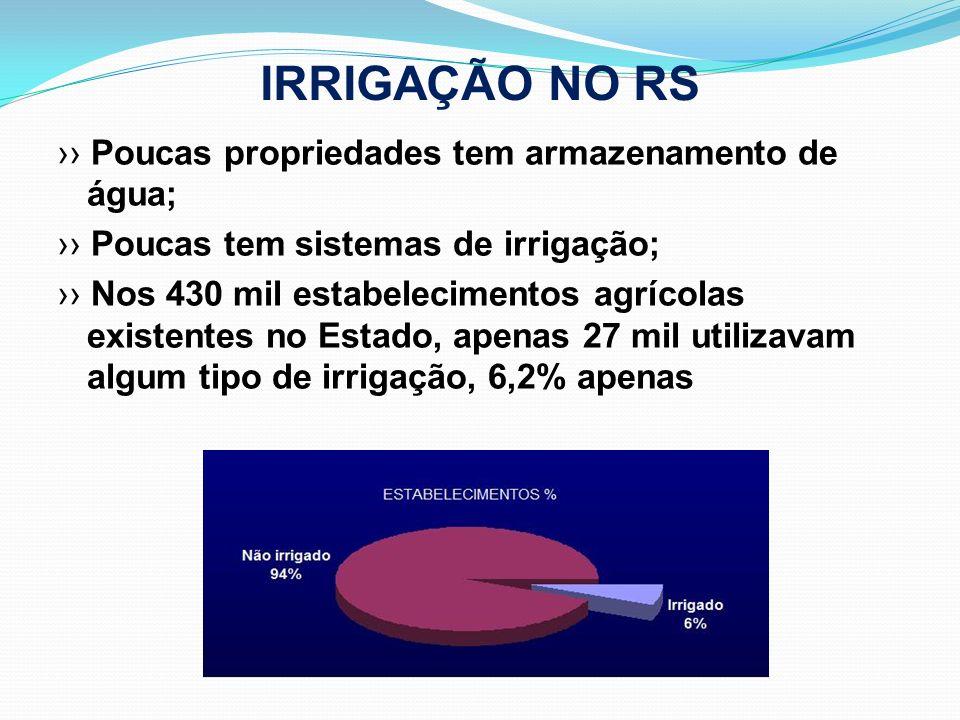 IRRIGAÇÃO NO RS Poucas propriedades tem armazenamento de água; Poucas tem sistemas de irrigação; Nos 430 mil estabelecimentos agrícolas existentes no