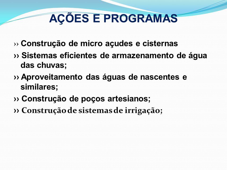 AÇÕES E PROGRAMAS Construção de micro açudes e cisternas Sistemas eficientes de armazenamento de água das chuvas; Aproveitamento das águas de nascente