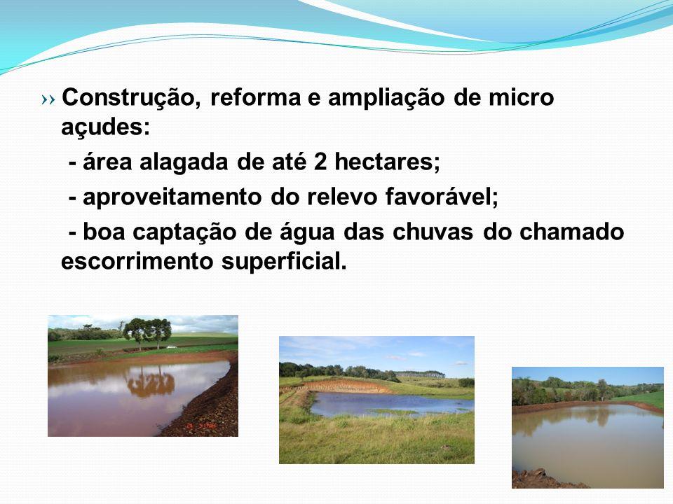 Construção, reforma e ampliação de micro açudes: - área alagada de até 2 hectares; - aproveitamento do relevo favorável; - boa captação de água das ch