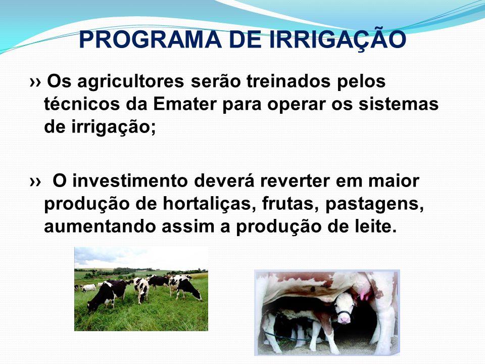 PROGRAMA DE IRRIGAÇÃO Os agricultores serão treinados pelos técnicos da Emater para operar os sistemas de irrigação; O investimento deverá reverter em