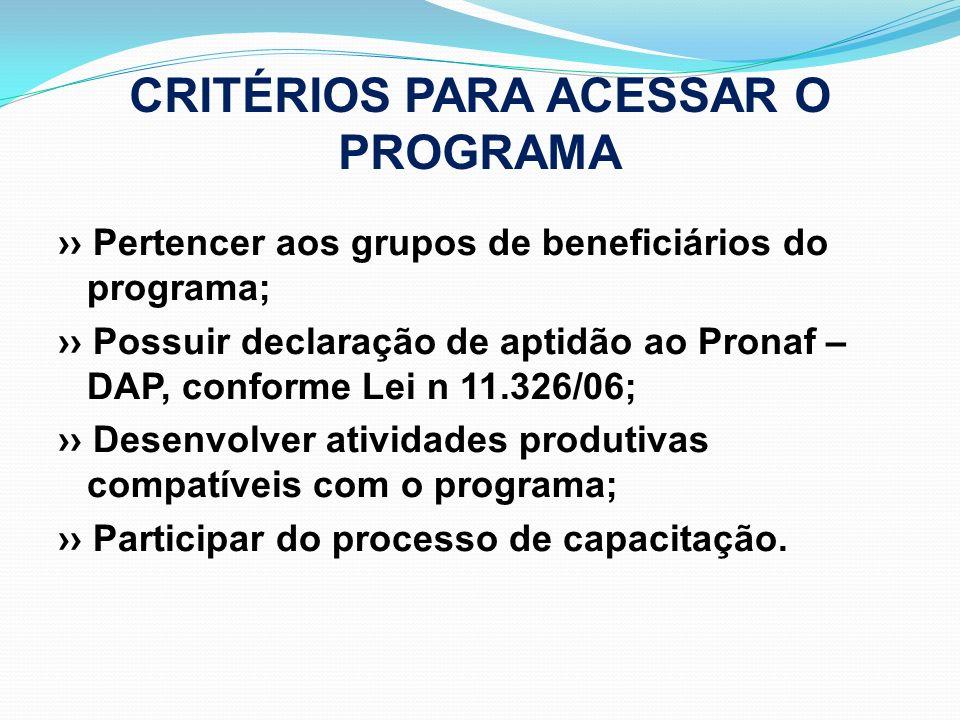 CRITÉRIOS PARA ACESSAR O PROGRAMA Pertencer aos grupos de beneficiários do programa; Possuir declaração de aptidão ao Pronaf – DAP, conforme Lei n 11.